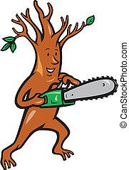 träd, man, arborist, med, Motorsåg