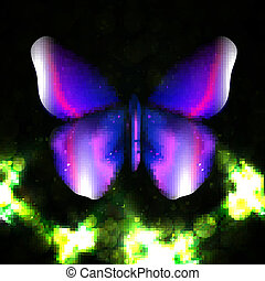 Shiny abstract butterfly, futuristic colorful vector...