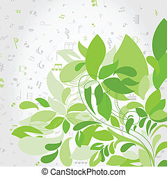 Plant music - Green plant against notes A vector...