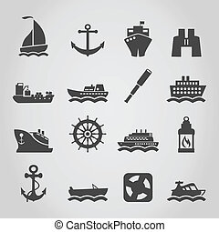 Ship an icon - Set of icons of the ships. A vector...