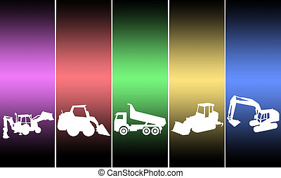 illustrations transport tractor in different colors