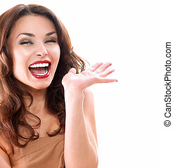 Beauty Surprised Woman isolated on White background
