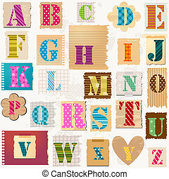 textured alphabet, colorful letters set