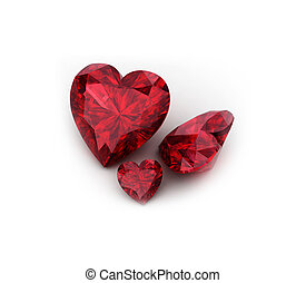 Heart shaped ruby gemstone on white background