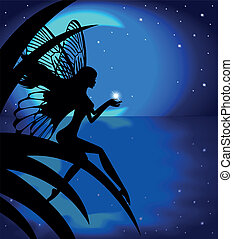 Silhouette fairy girl and the moon - Silhouette fairy girl...