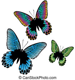Set of colorful tropical butterfly - Set of a three colorful...