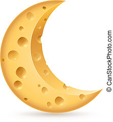 Cheese - Abstract cheese lunation Illustration on white...