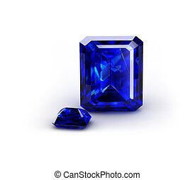 Blue gem on a white background