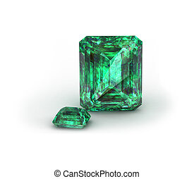 Green gemstone on white background. Emerald,
