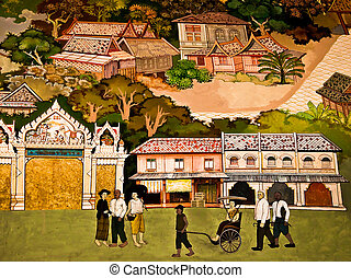 BANGKOK ,THAILAND - MAY 19 : Ancient  painting on monastery wall in Buddhist temple on May 19, 2012 in Bangkok, Thailand. Ancient painting showing the cultural life of Thai people in ancient times
