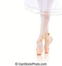 Ballerina Legs closeup. Ballet Shoes. Pointe