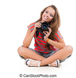 Teenage Girl with Professional Photo Camera Isolated on...