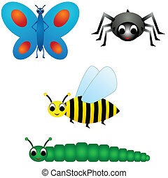 Insects vector - Illustration of four insects