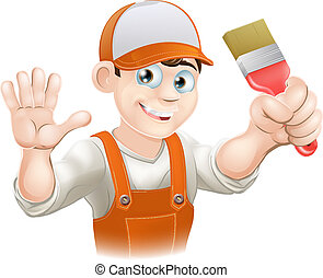 Painter or decorator man - Illustration of a happy smiling...
