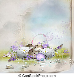 Easter card - Easter postcard-beautiful composition with...