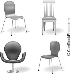 Vector Chairs Set isolated on white background: chair...