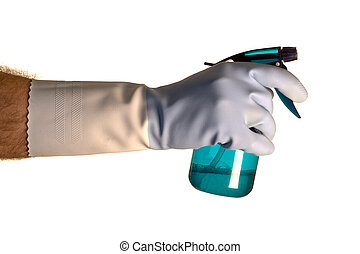 Cleaning Solution - A hand wearing a rubber glove holding a...
