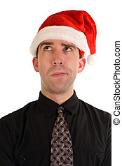 Puzzled Christmas Employee - A puzzled looking employee...