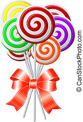 Lollipops with red ribbon. Vector illustration