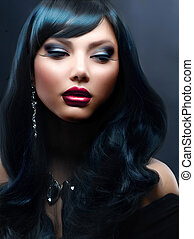 vacker, kvinna, med, svart, hår, helgdag,...