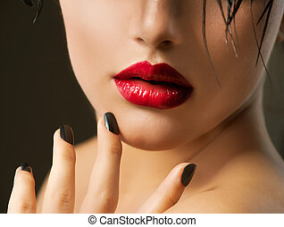 Fashion Girl Closeup Red Lips And Black Nails Beautiful...
