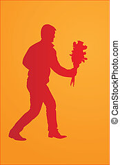 Silhouette of a man with a bouquet