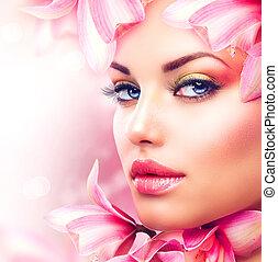 hermoso, niña, con, orquídea, flores, belleza,...