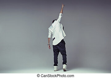 Victory gesture of a stylish guy - Victory gesture of a...