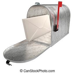 Metal Mailbox - A standard galvanized mailbox with mail and...