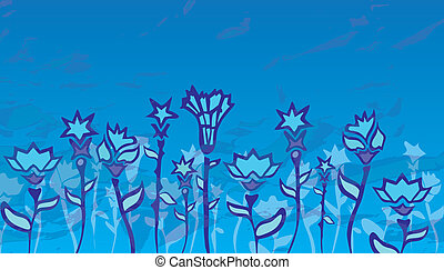 flowers on the field blue, stylization ice winter