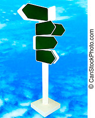 The Blank direction of signpost isolated on blue sky...