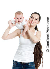 Mother playing with her baby on white background