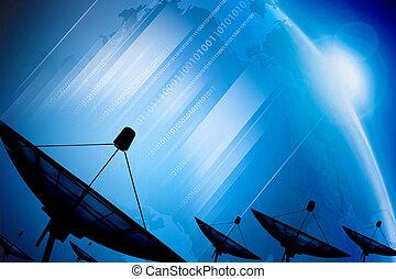 Satellite dish transmission data on background digital blue