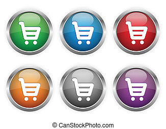 Shopping web buttons in six colors.