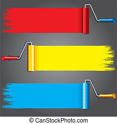 Paint Rollers with Various Paints on Wall. Vector...