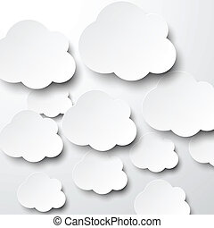 Paper white clouds - Vector abstract background composed of...