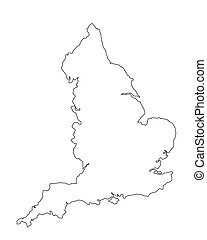 england - map of england on white background