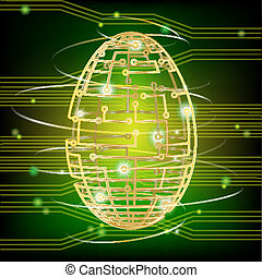 Circuit board egg green - Easter egg for the modern age....