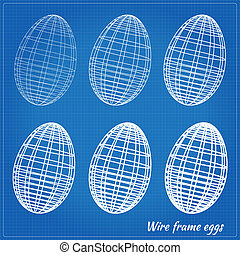 Wire frame eggs with varying wire thickness. EPS10 vector...