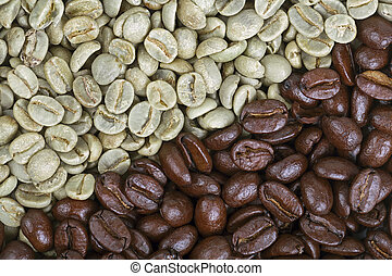 Roasted and unroasted coffee beans - A background of...