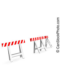 roadblock white and red on white background