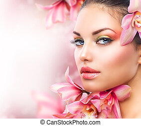 gyönyörű, leány, noha, orhidea,...