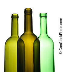 Three empty wine bottles for recycling - Three empty green...