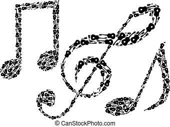 Music notes. Abstract notes. Musical instrument. Guitar...