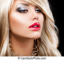 Blond Fashion Woman Portrait. Blonde Hair