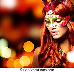 Masquerade. Beautiful Girl in a Carnival mask