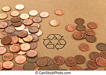 Recycling sign and money