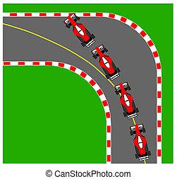 Understeering - Illustration of a car having an under...