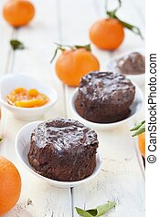 Chocolate mud cakes with chocolate