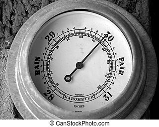 barometer with needle pointing towards fair weather